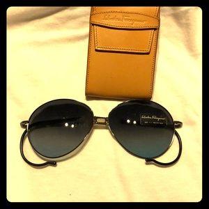 Ferragamo folding aviator sunglasses with case